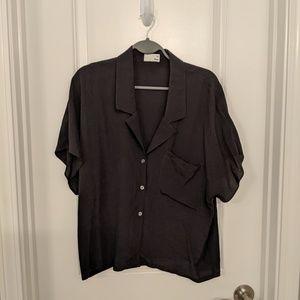 Aritzia Black Crop Button Up